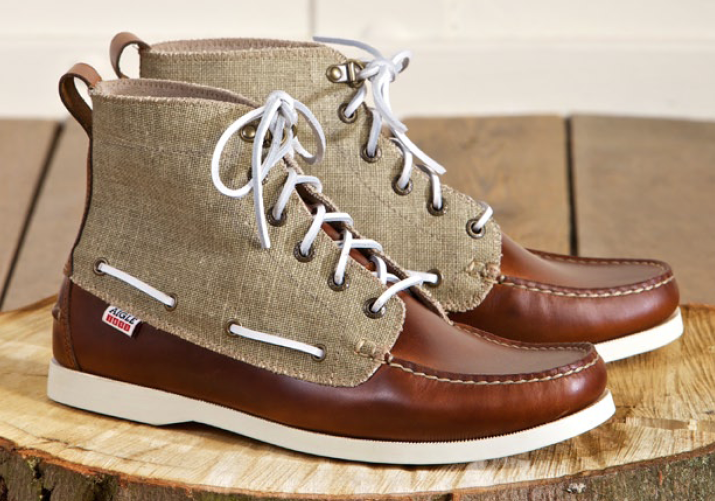 Leather-Canvas Boat shoes